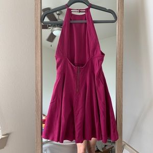 Magenta halter dress with open back